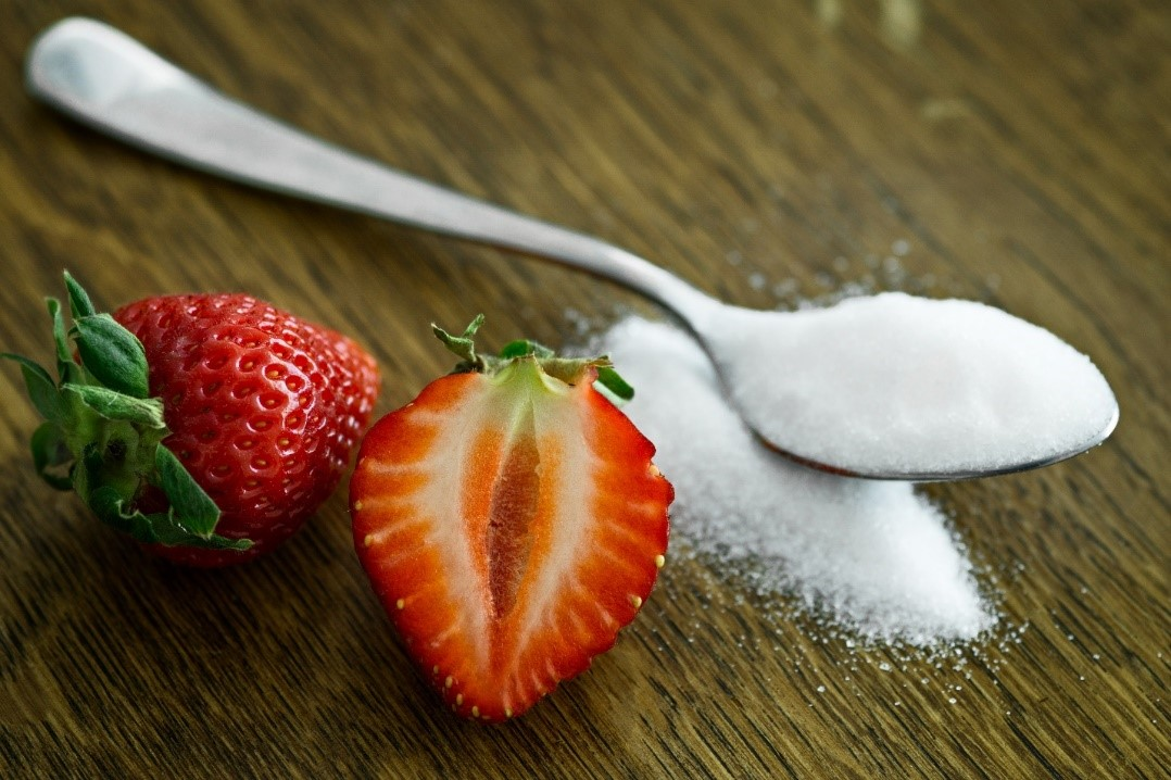Strawberries and refined sugar
